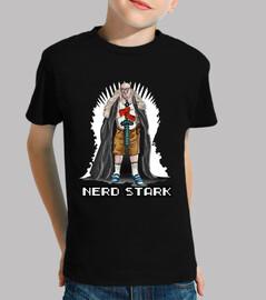 Nerd stark trono blanco camiseta niño