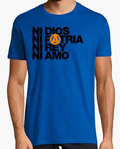 Camiseta Ni Dios Patria Rey Amo Letra Negra