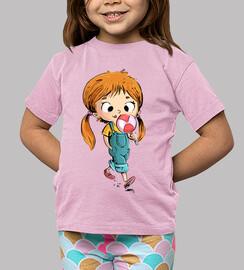Niña con piruleta - camiseta niños