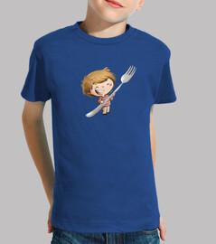 niño con tenedor