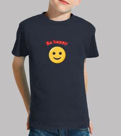 Niño, manga corta, azul marino, be happy