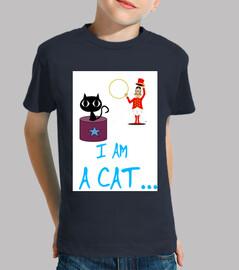 Niño, manga corta, azul marino, gato, camiseta divertida
