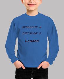 Niño, manga corta, azul royal Coordenadas London
