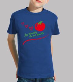 Niño, manga corta, azul royal, Tomate del huerto