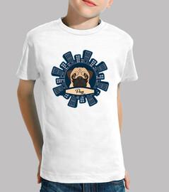 Niño, manga corta, blanco Diseño Pug Rascacielos