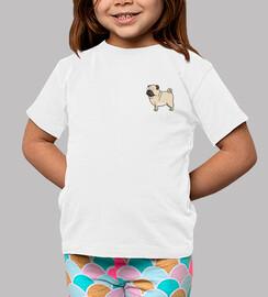 Niño, manga corta, blanco Pug carlino dibujo