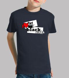 Niño, manga corta I love black cats