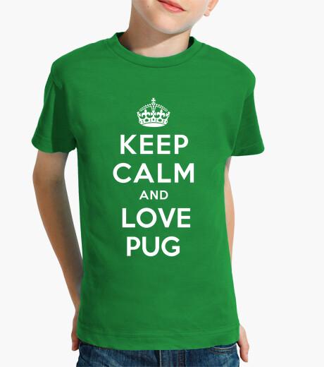 Ropa infantil Niño, manga corta, keep clam and love pug