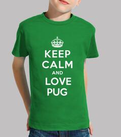 Niño, manga corta, keep clam and love pug