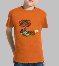 Niño, manga corta, naranja