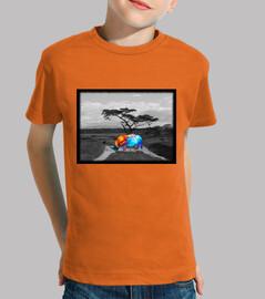Niño, manga corta, naranja, Rinoceronte colores