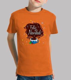 Niño, manga corta, naranja Taza Feliz Navidad