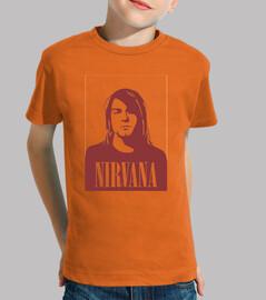 Niño, manga corta, naranja,nirvana