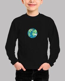 Niño, manga corta, planeta tierra
