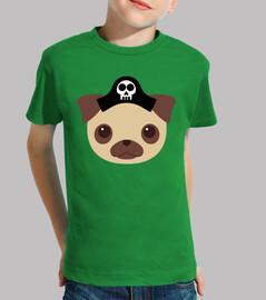 Niño, manga corta, verde Diseño Perro Pirata