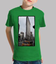 Niño, manga corta, verde. New York