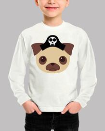Niño, manga larga, blanco Diseño Perro Pirata