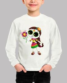 Niño, manga larga, Catrina con flores