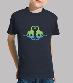 niños amor dino camiseta