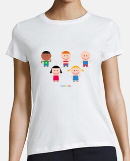 NIÑOS Y NIÑAS JUGANDO - camiseta mujer