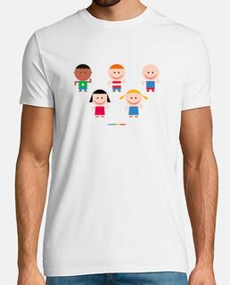NIÑOS Y NIÑAS JUGANDO -camiseta hombre