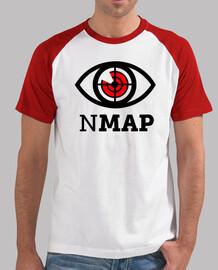 NMAP Logo Negro y Rojo. camiseta blanca mangas rojas chico.