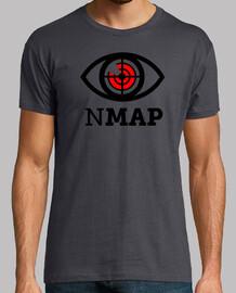 NMAP Logo Negro y Rojo. camiseta gris chico.