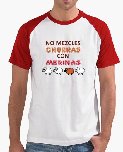Camiseta No mezcles churras con merinas. Hombre, estilo béisbol, blanca y roja
