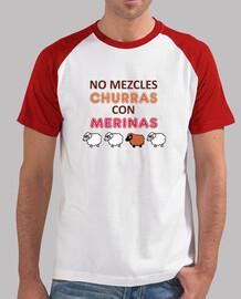 No mezcles churras con merinas. Hombre, estilo béisbol, blanca y roja