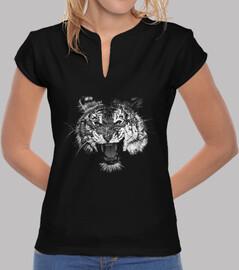 noir et blanc tigre rugissement