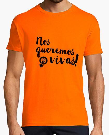 Tee-shirt nous voulons vivre! (lettrage noir)