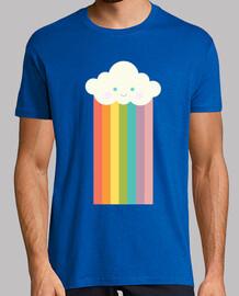 Nube arco iris orgulloso. Hombre, manga corta, azul royal, calidad extra