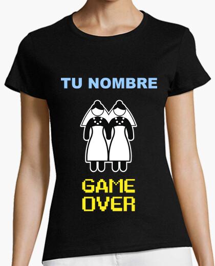 T-shirt nubilato nome personalizzato, game over descrizione lesbica lettura ** **