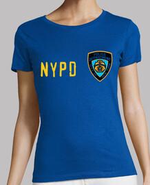 NYPD (chica) manga corta, azul-letra amarilla, serigrafía solo delantera
