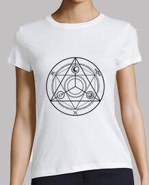 ocultura círculo negro camisa de la mujer