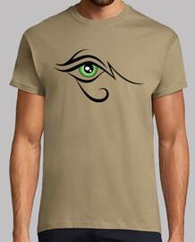oeil noir et vert