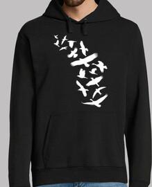 oiseaux volants - blanc