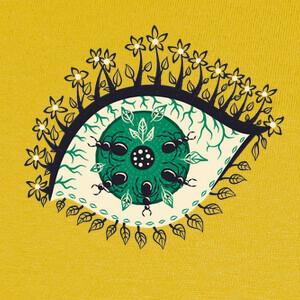 Tee-shirts ojo trippy con hojas y bichos