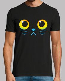 ojos curiosos - gato negro - camisa de hombre