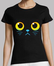 ojos curiosos - gato negro - camisa de mujer