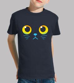 ojos curiosos - gato negro - camisa de niños