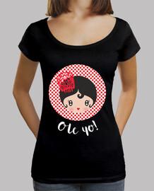Ole yo! - Black Mujer, cuello ancho & Loose Fit, negra