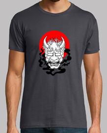 oni t- t-shirt japanese minimalista yokai ogre mask red sun