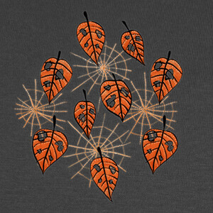 Orange Autumn Leaves And Spiderwebs T-shirts