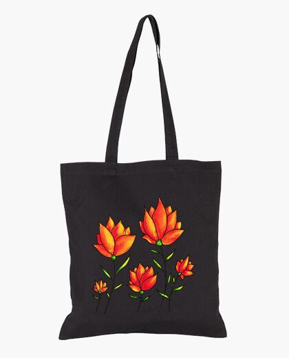 Orange Flowers Spring Watercolor bag