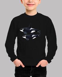 Orca duo (Orcinus orca) camiseta niño