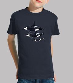 orca enfant, manches courtes, bleu foncé