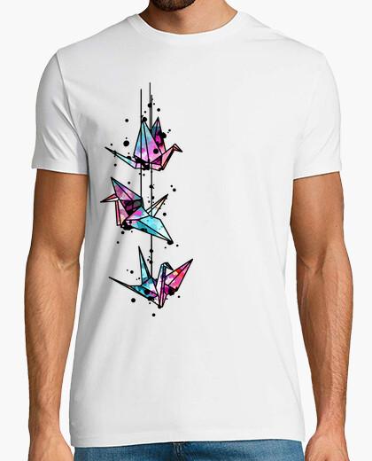 Camiseta origami blanco grúa acuarela