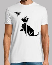 origami: el gato y el pájaro