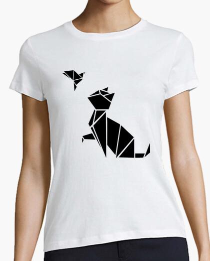 Camiseta origami: el gato y el pájaro
